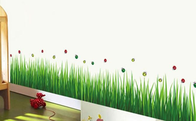 Removable Green Grass Wall Stickers Home Decor For Kids