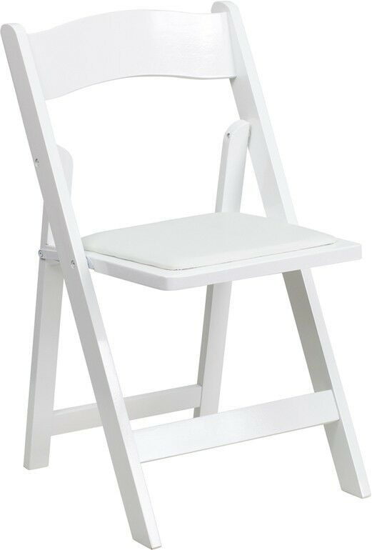 White Color Wood Folding Chair with White Vinyl Padded