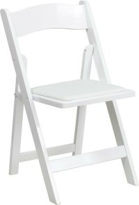 White Color Wood Folding Chair with White Vinyl Padded ...