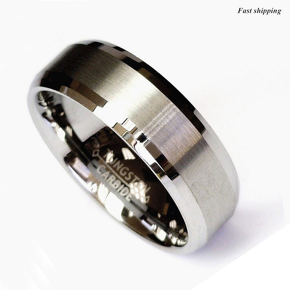 Titanium Color Two Tone Tungsten Carbide Wedding Band Men S Ring Bridal Jewelry Ebay