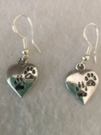 "Cute Silver ""Love My Pet"" Engraved Paw Print Heart Charm"
