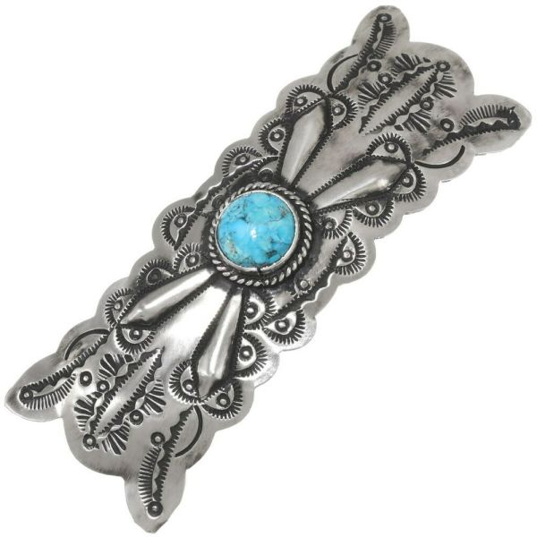 Hammered Silver Turquoise Navajo Hair Barrette Accessory
