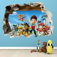 PAW PATROL SMASHED WALL STICKER - 3D BEDROOM BOYS GIRLS ...