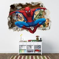 SPIDERMAN SMASHED WALL STICKER - BEDROOM BOYS AVENGERS ...