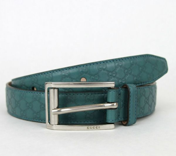Authentic Gucci Mens Guccissima Leather Belt Metal