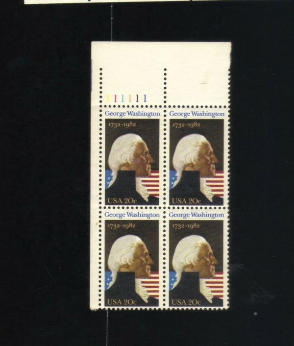 Block Of 4 - 20 Cent Stamps George Washington 1732 1982