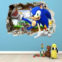 SONIC THE HEDGEHOG SMASHED WALL STICKER - BEDROOM BOYS ...