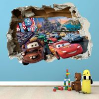DISNEY CARS SMASHED WALL STICKER - BEDROOM BOYS GIRLS ...