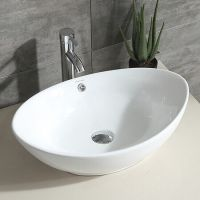 Oval White Bathroom Porcelain Ceramic Vessel Sink Bowl