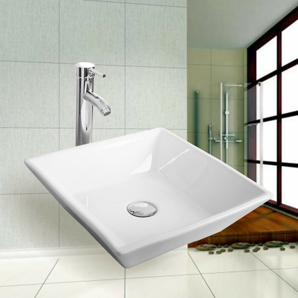New White Modern Design Bathroom Ceramic Vessel Sink Square Chrome Faucet Combo  eBay
