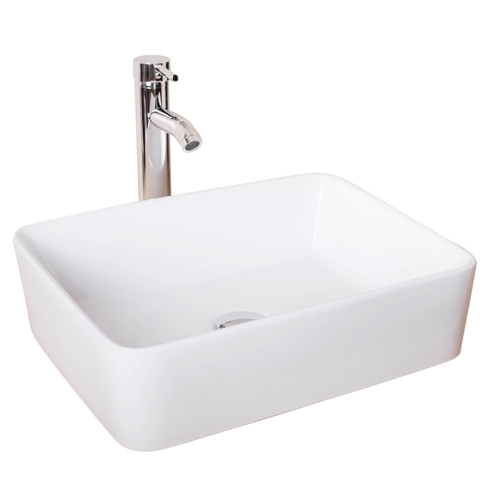 New Bathroom Rectangle Ceramic Vessel Sink White Porcelain  Chrome Faucet Combo  eBay