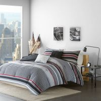 BEAUTIFUL MODERN GREY BLACK RED WHITE SPORT STRIPE
