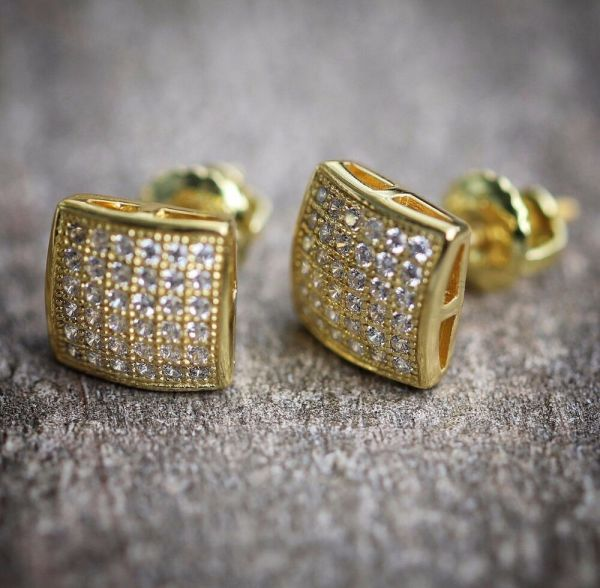 Small 14k Gold Plated Real Sterling Silver Screw Stud Earrings