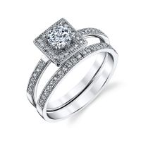 925 Sterling Silver Square Bridal CZ Engagement Wedding ...