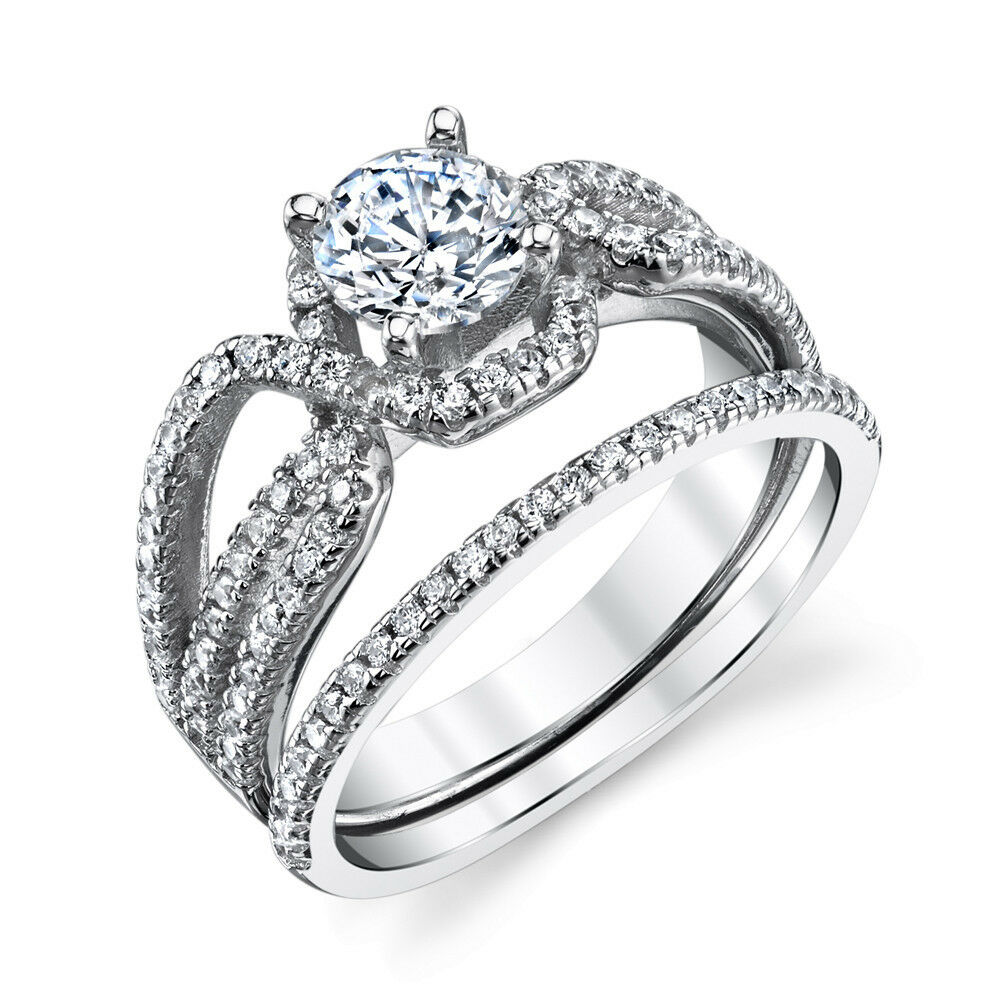 Sterling Silver CZ Engagement Wedding Ring Set Cubic Zirconia Micro Pave  eBay