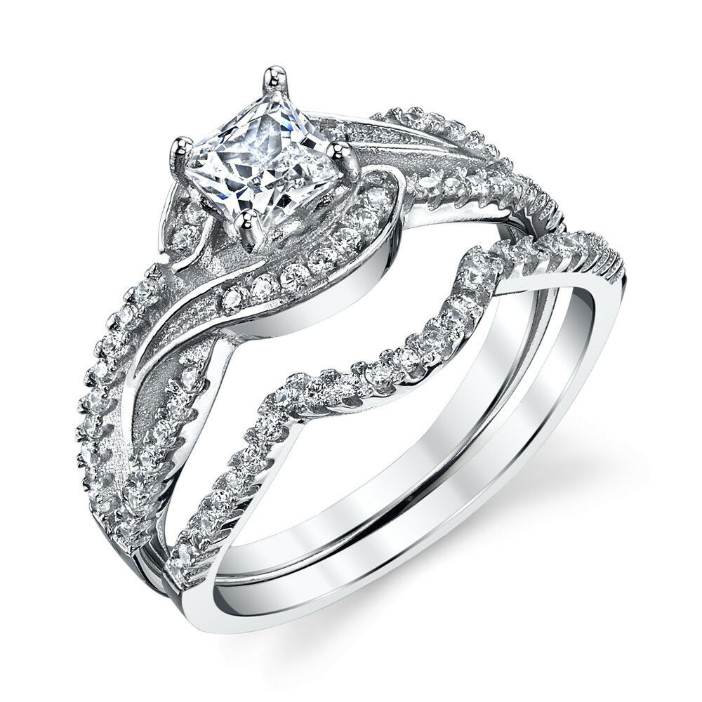 925 Sterling Silver CZ Engagement Wedding Ring Set Cubic Zirconia Scroll Design  eBay