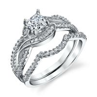 925 Sterling Silver CZ Engagement Wedding Ring Set Cubic