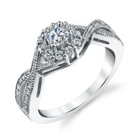 Sterling Silver Bridal CZ Engagement Wedding Ring Set with