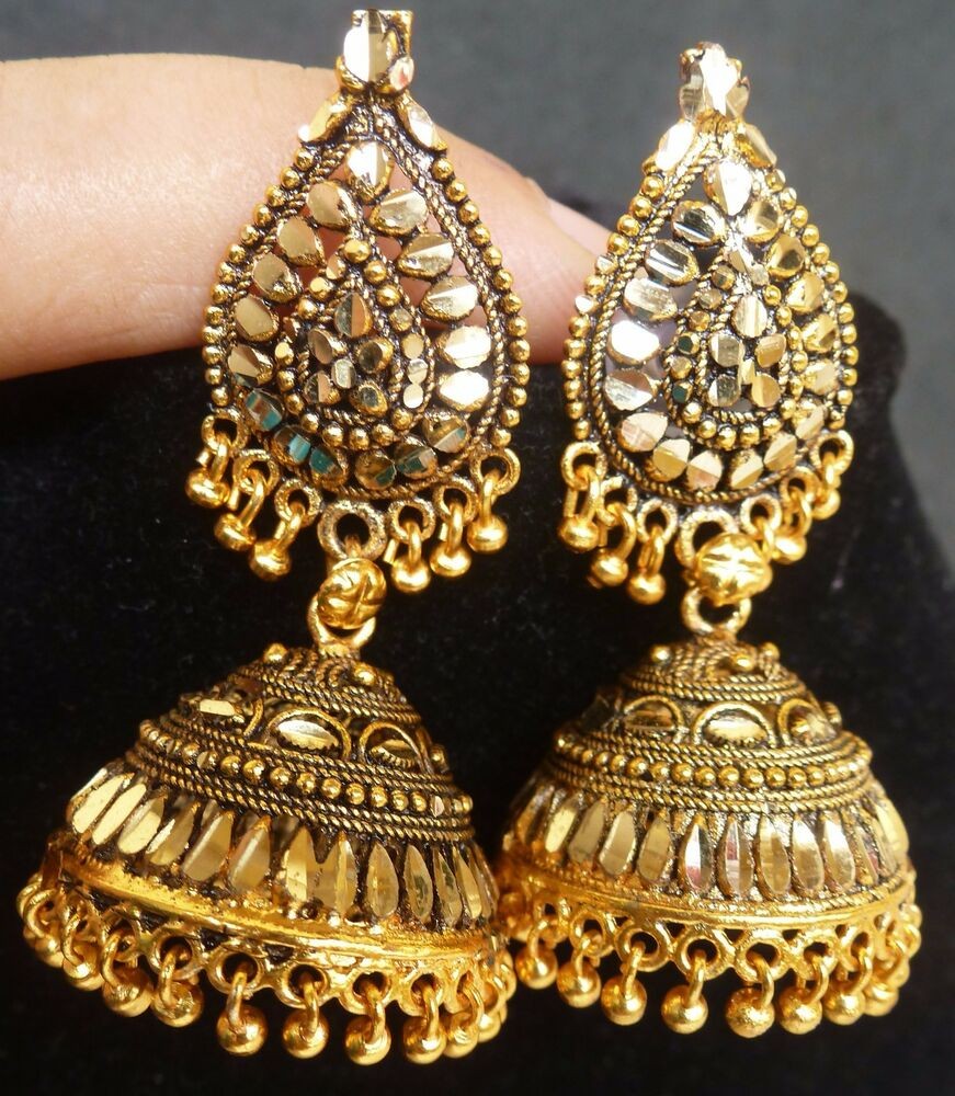 South Indian Antique Gold Plated 3.5 cm Long Jhumka Jhumki