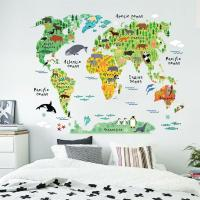 Colorful World Map Kids Nursery Room Wall Stickers Home ...