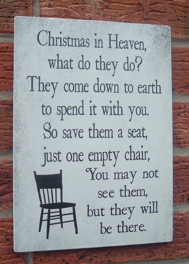 Christmas In Heaven What Do They Do Sign Plaque Words Of