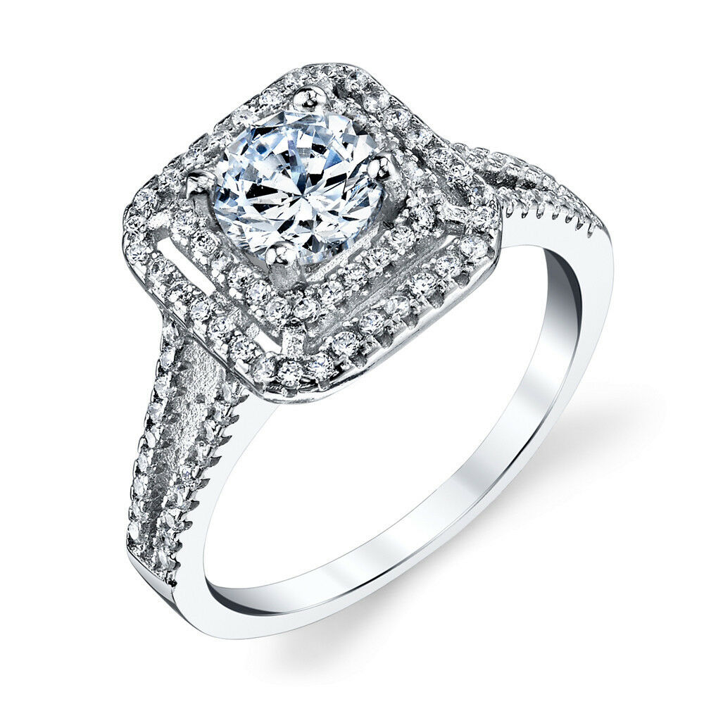 925 Sterling Silver Square Designed Cubic Zirconia Engagement Wedding Ring  eBay