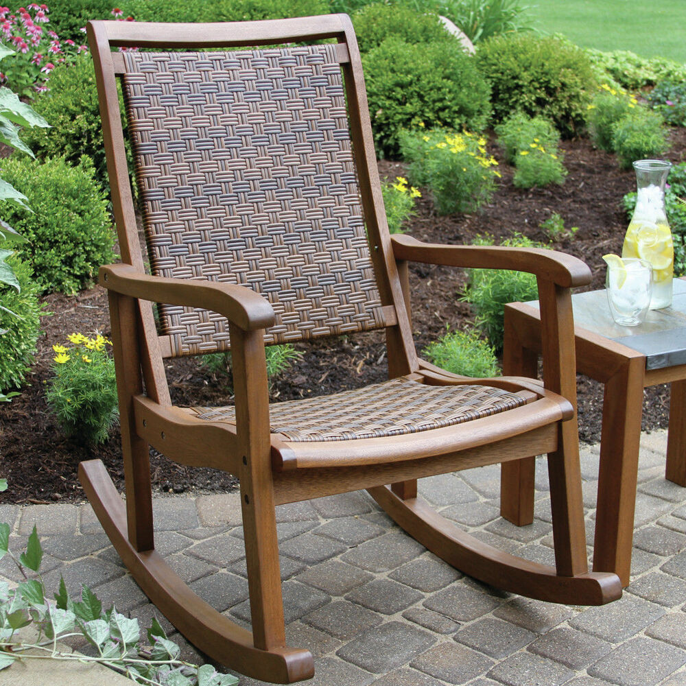 Outdoor Wicker Wood Rocking Chair Patio Porch Seat Rocker