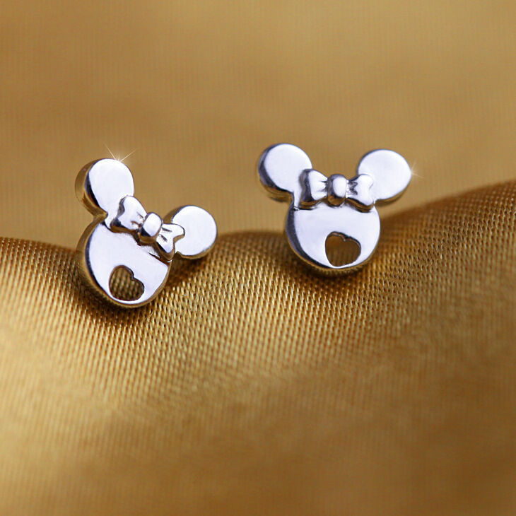 Solid Sterling Silver White Gold Plated Minnie Mouse Girls