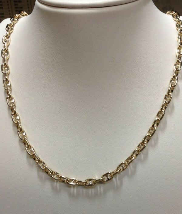 14k Solid Yellow Gold Anchor Mariner Chain Necklace 4.5mm 44 Grams 26