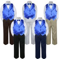 4pc Boys Baby Toddler Kids Royal Blue Vest Bow Tie Formal ...