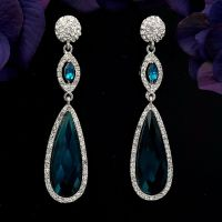 Rhodium Plated Indicolite Blue Crystal Rhinestone Drop