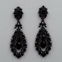 Black Alloy Jet Crystal Rhinestone Chandelier Drop Dangle