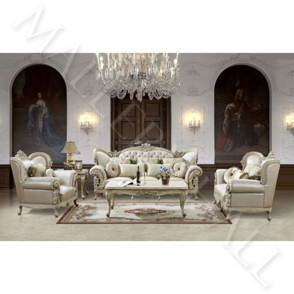 French Provincial Carved White Tufted Leather Upholstered