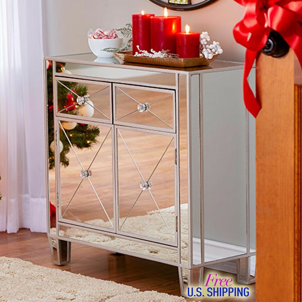 Modern Mirrored Cabinet Chest Bedside Night Stand Drawers