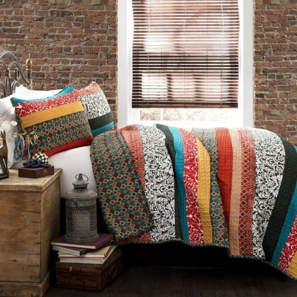 Boho Stripe Bedding Quilt Set