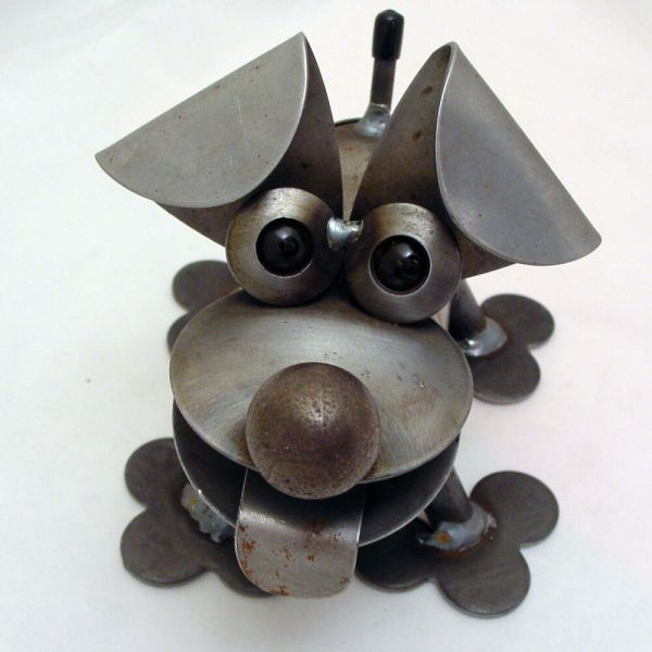 Recycled Metal Art Sculptures Dogs
