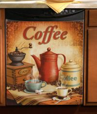 """Vintage Coffee Kitchen Magnetic Dishwasher Cover 23"""" x 26 ..."""