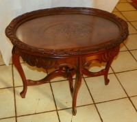 Walnut Flower Carved Coffee Table with Serving Tray (RP ...