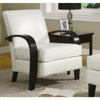 Leather Accent Chair White Contemporary Dining Wood Living ...