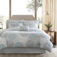 BEAUTIFUL MODERN CONTEMPORARY BLUE AQUA GREY COMFORTER ...