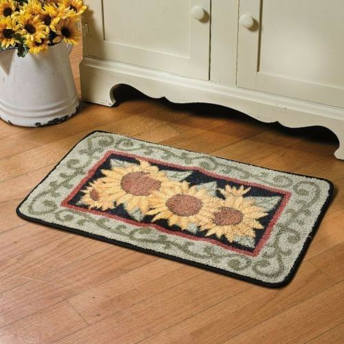 Country Yellow Sunflower Hooked Rug Bright Kitchen Rug