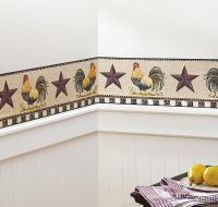 French Country Primitive Rooster & Stars Checkered ...