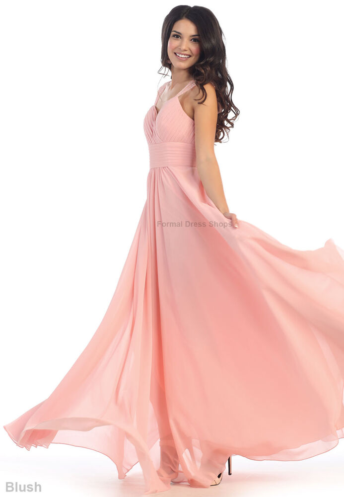 EMPIRE WAIST BRIDESMAIDS EVENING GOWN PROM FLOWY FORMAL LONG DRESS MAID of HONOR  eBay