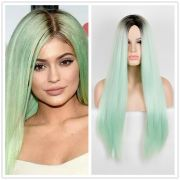 kylie jenner synthetic wig green