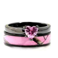 Black Plated Pink Heart CZ CAMO WEDDING RINGS Bridal ...