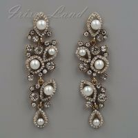 Antique Gold Plated White Pearl Clear Crystal Wedding Drop ...