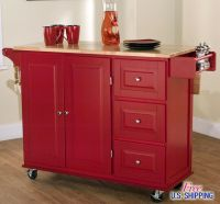 Large Red Kitchen Cart Island Rolling Storage Cabinet Wood ...