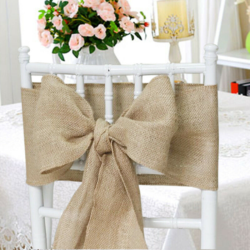 chair covers and sashes for sale step stool combo 150 packs burlap 6 x108 cover bows natural jute details about wedding event