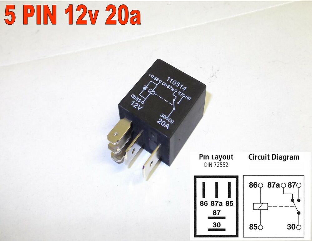 MICRO RELAY 5 PIN 12v 20amp AUTO CHANGEOVER CAR DIODE