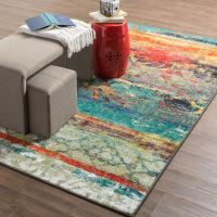 Multi Color Area Rug 5x8 Indoor Red Blue Bright Vibrant ...